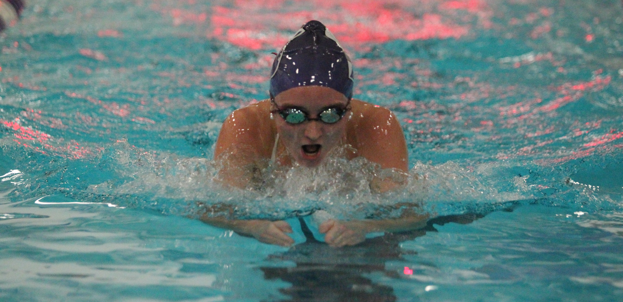 Junior Lauren Byrne broke a pool record in the 200 IM in Friday's dual meet victory over Drew.