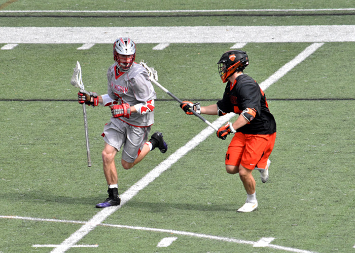 Sophomore Mac Puller scored one goal and had one assist in Saturday's 9-6 loss to Hendrix. (Photo by Wesley Lyle)