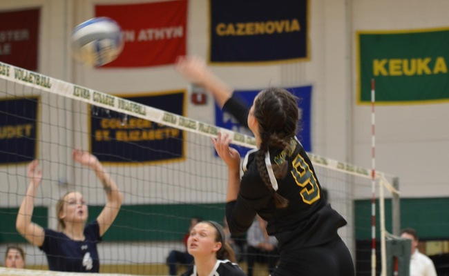Freshman Grace Allen (9) set a new career-high for kills on Wednesday -- Photo by Alex Milazzo