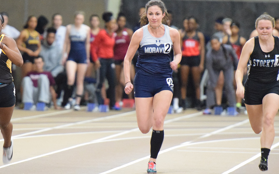 Sophomore Morgan Weaver runs in the 60-meter dash at the Lehigh University Fast Times Before Finals.