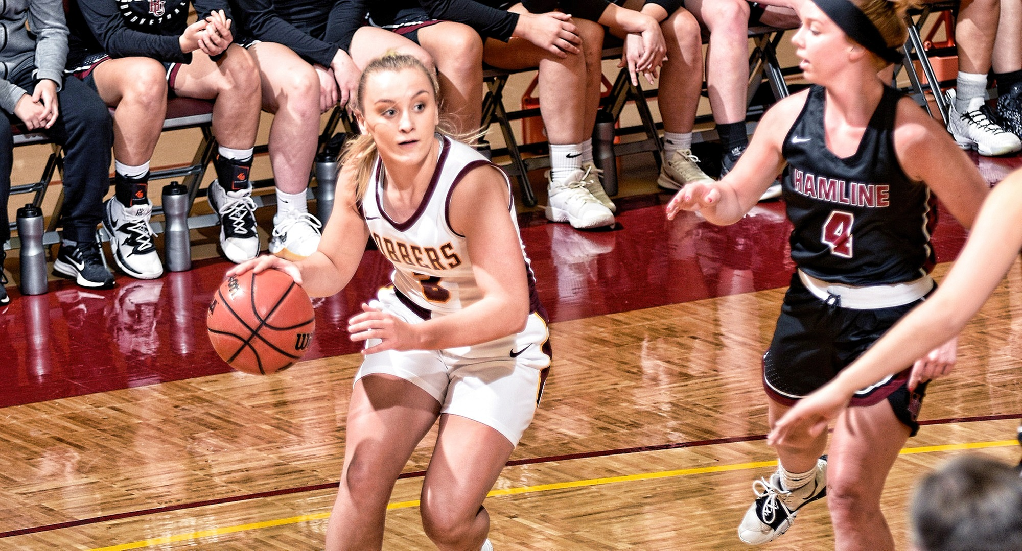 Sophomore Autumn Thompson made four 3-pointers and finished with a game-high 21 points in the Cobbers season finale at Hamline.