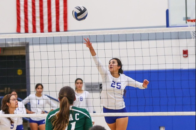 Nadia Arreaga played a solid all-around match for the Falcons