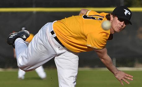 Winning pitcher Jordan Spicer threw five scoreless innings as the Eagles shut out Indian River 7-0. (Photo by Tom Hagerty, Polk State.)