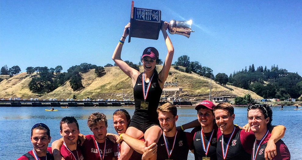 Santa Clara's Varsity 8 crew celebrates after winning its first WIRA Championship Sunday afternoon.