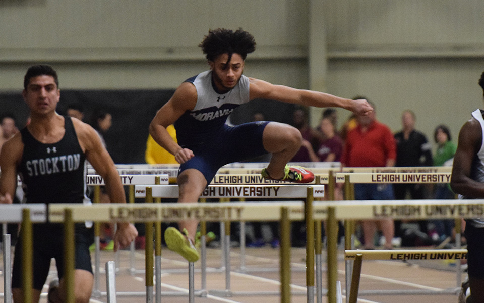 Junior Nicholas Cephas competes in the hurdles during the Moravian Indoor Invitational at Lehigh University.