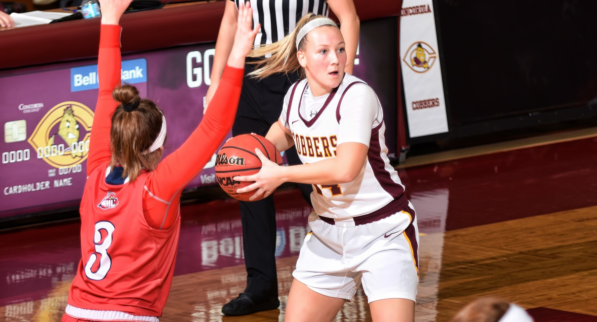 Sophomore Taviahna Tanin looks to make a pass in the first half of the Cobbers' win over St. Mary's. She gave CC a huge spark by putting up career-high numbers in points and rebounds.