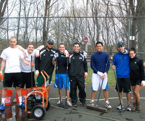 Sage Tennis Teams Participate in NCAA Division III Week by participating in a Community Service Project at Prospect Park