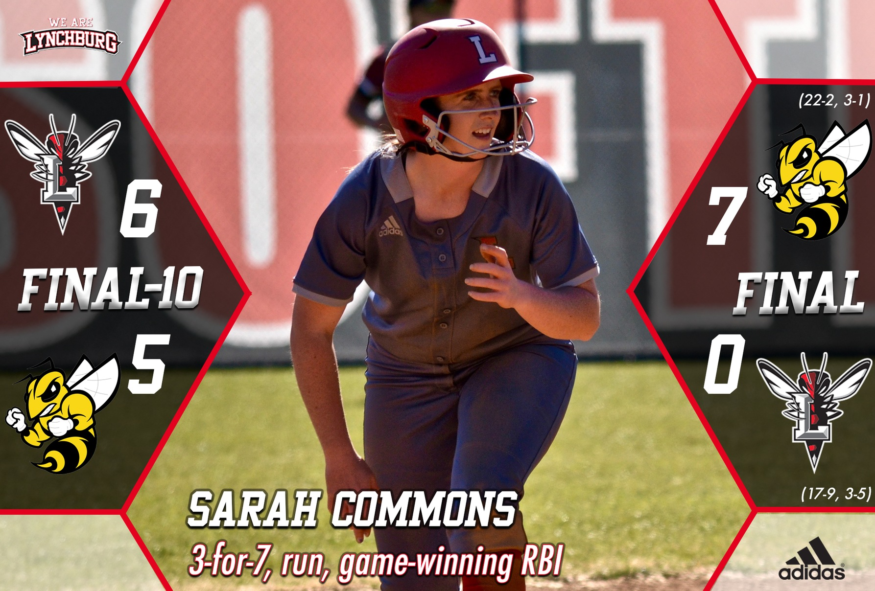 Sarah Commons runs the bases. Text: Sarah Commons 3-for-7, run, game-winning RBI