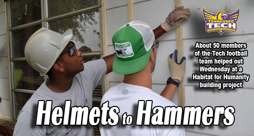 Football team keeping busy with Habitat for Humanity project
