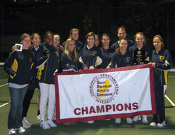 Simmons Tennis captured their third consecutive GNAC title on Sunday with a 5-2 win over Emerson College. The Championship, Simmons' sixth in the past seven years, gives the Sharks automatic entry into the 2011 NCAA tournament.