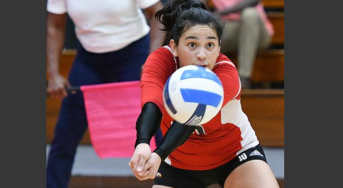Diana Carranza made 34 digs against Daytona State, earning a spot in this season's 25 Dig Club.  (Photo by Tom Hagerty, Polk State.)