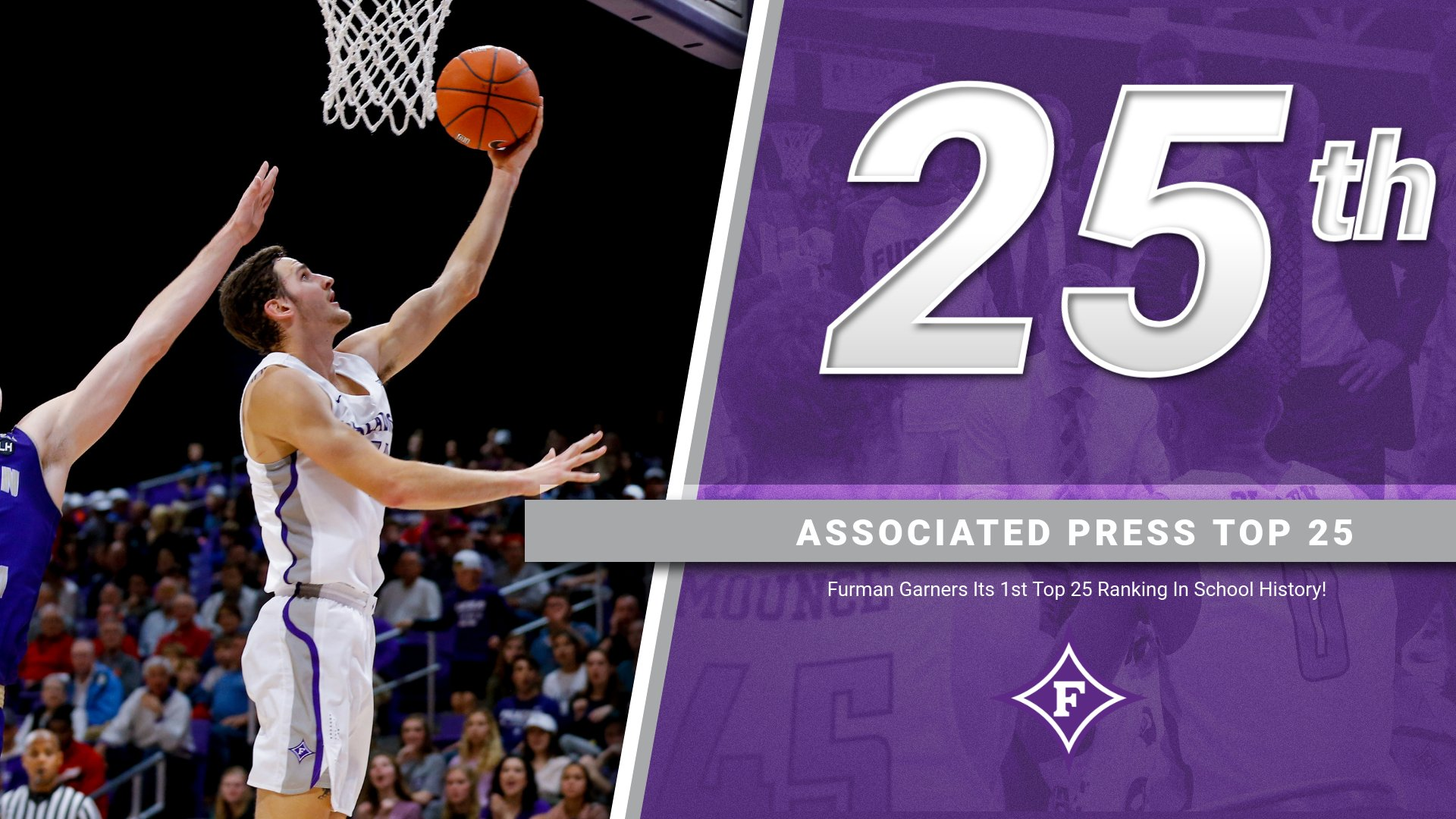 Furman made its first appearance in the Associated Press Top 25 Poll on Monday when the Paladins earned the No. 25 spot.