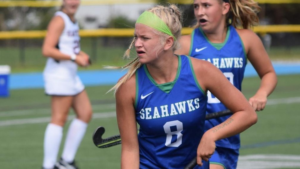 Eliza Timms scored both goals for the Seahawks in a 2-1 victory over Wheaton (Photo by Ed Habershaw).
