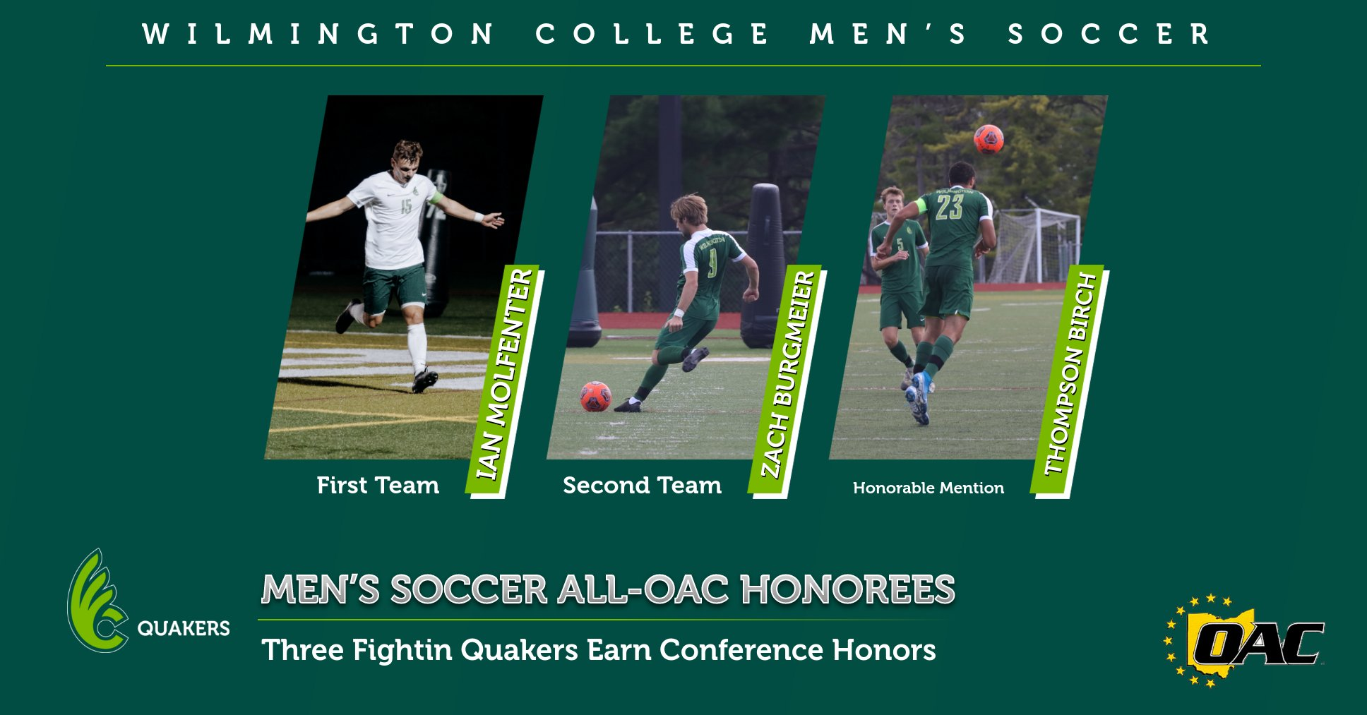 Molfenter, Burgmeier and Birch Earn All-OAC Honors