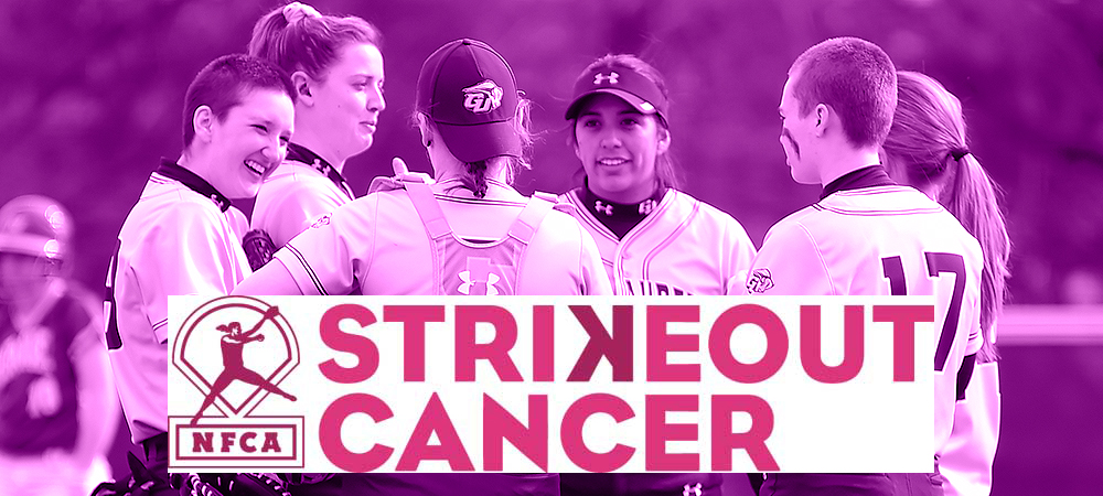NFCA Strikeout Cancer  graphic with a team group photo in the background of GU softball players together.