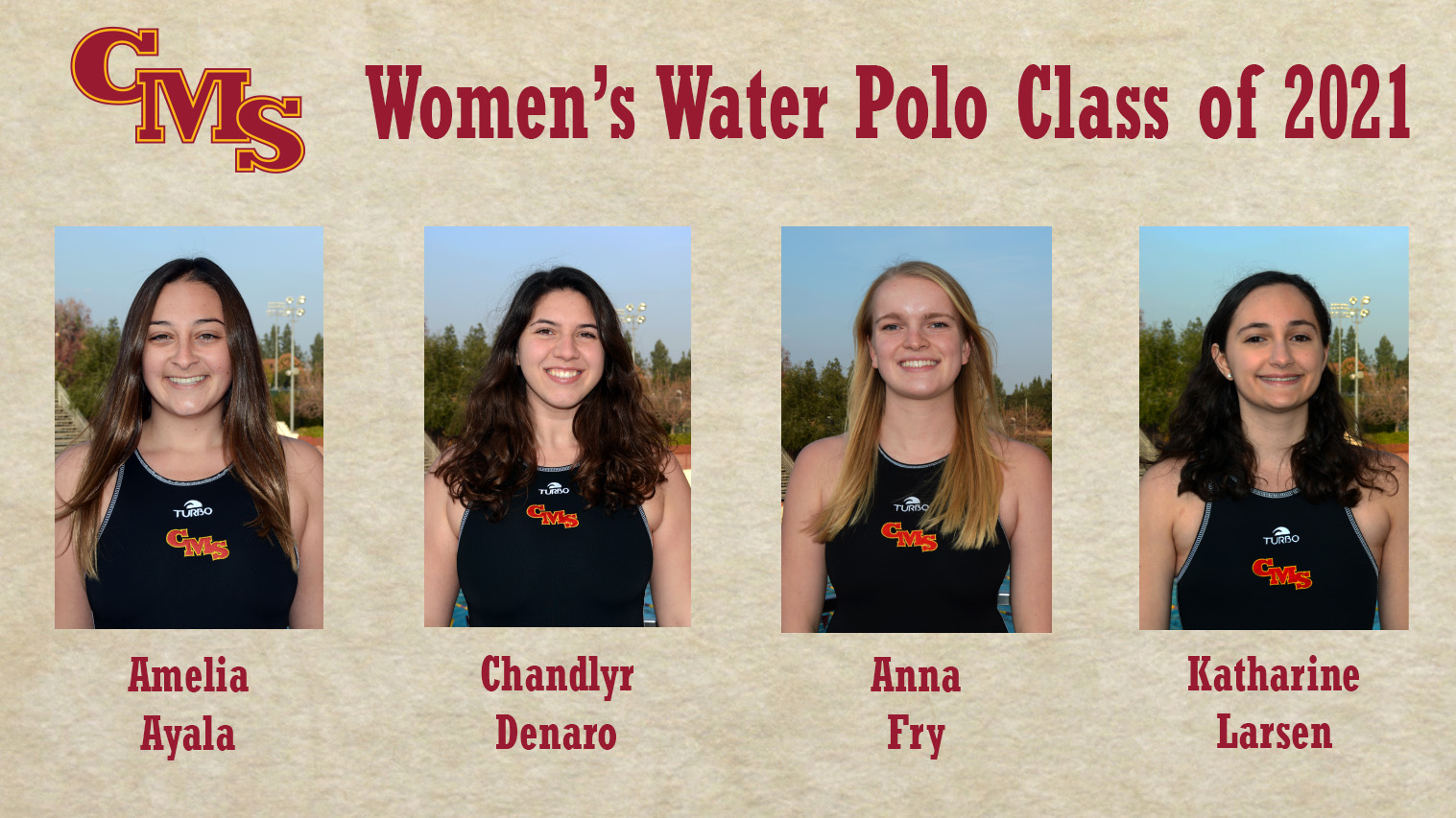 Head Shots of the CMS Women's Water Polo Class of 2021