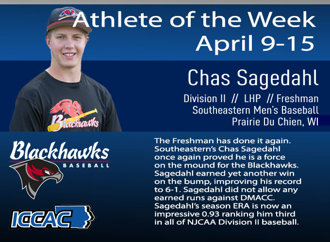 Sagedahl Receives Conference Athlete of the Week For a Third Time