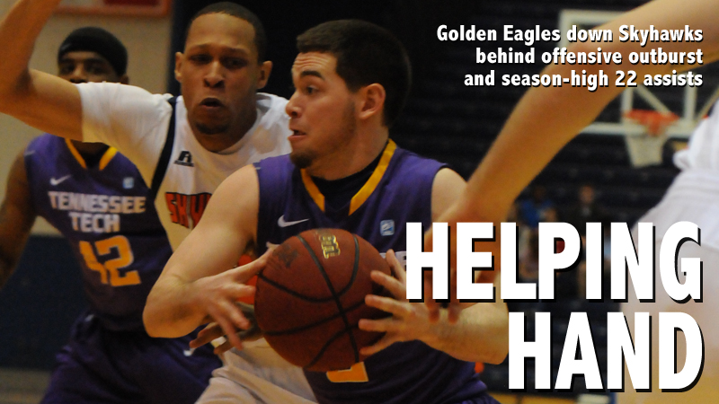 Offensive outburst leads Golden Eagles to 91-83 win at UT Martin
