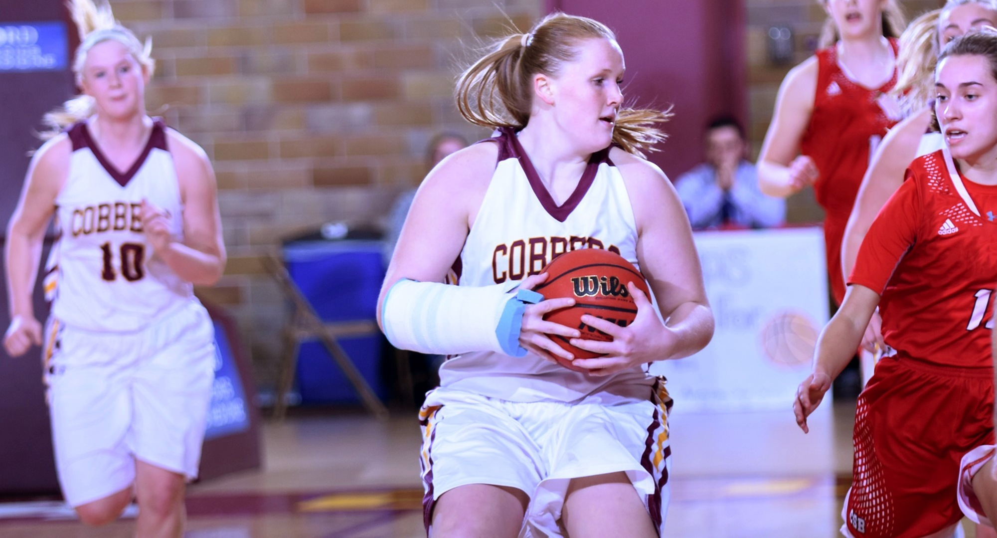 Senior Kirstin Simmons played 32 minutes and grabbed a career-high 16 rebounds in the Cobbers' overtime win at Carleton.