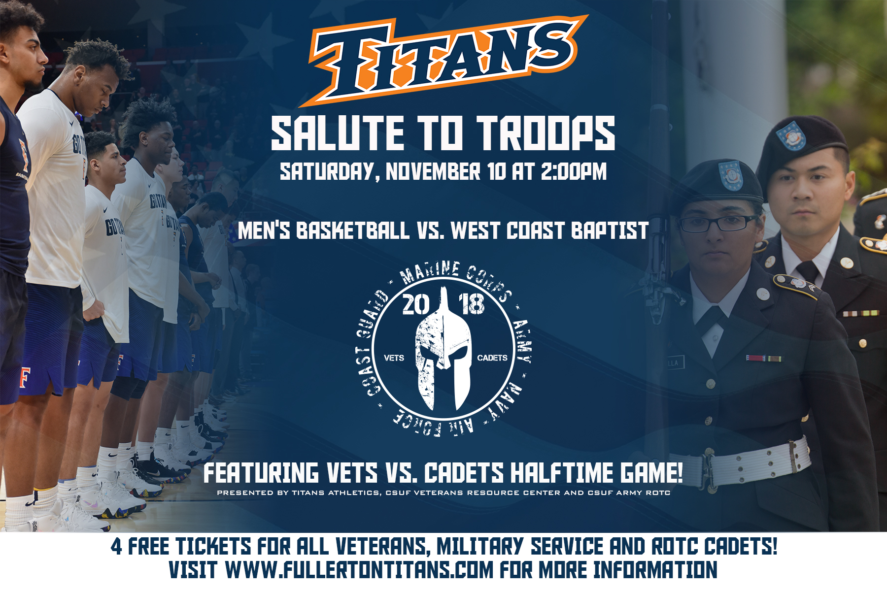 Titans Salute to Troops at MBB Matchup Against West Coast Baptist
