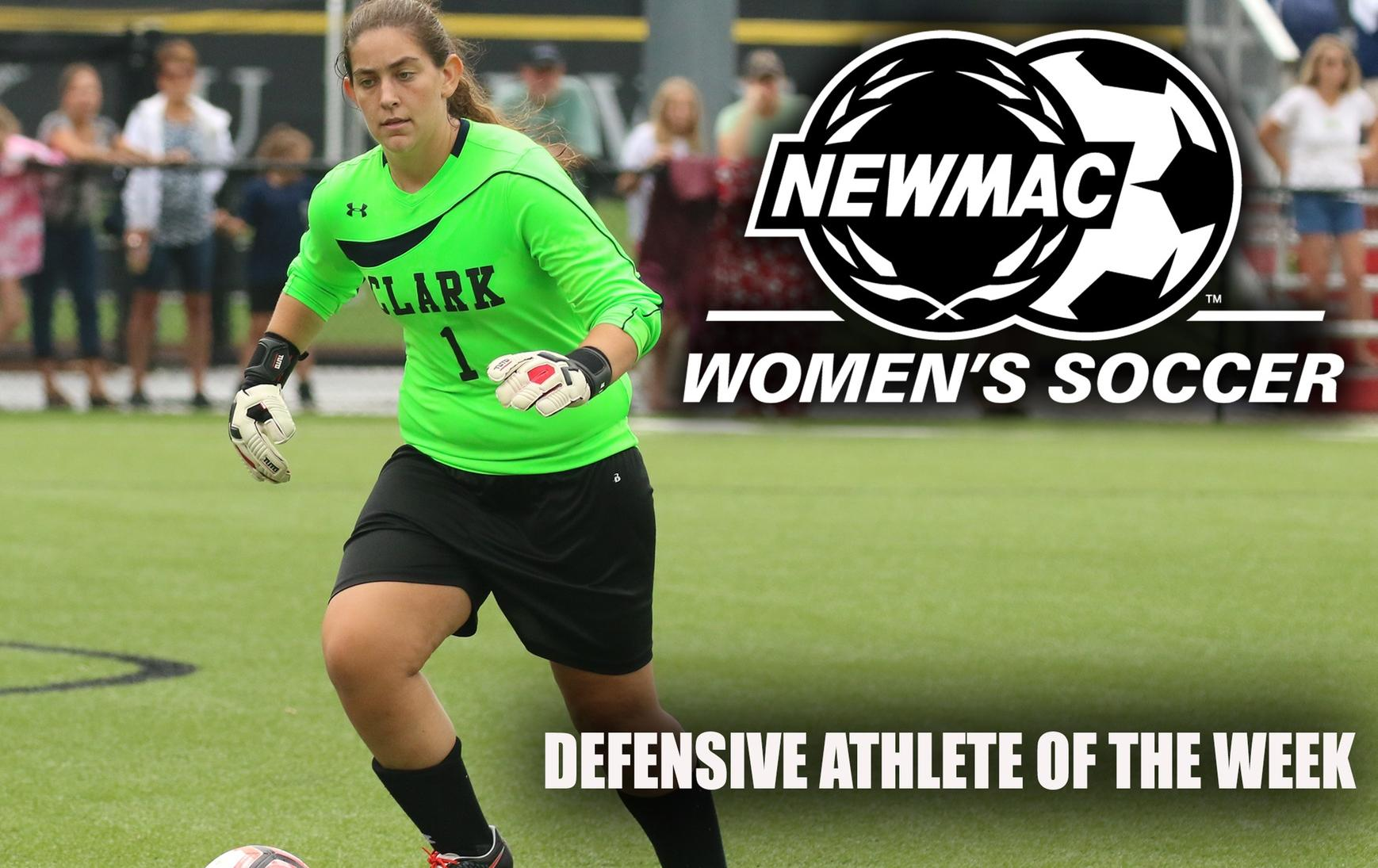 Christy Named NEWMAC Women's Soccer Defensive Athlete of the Week