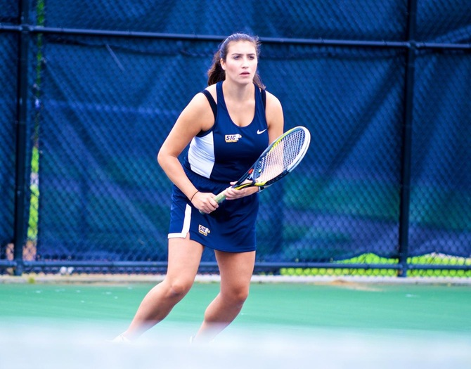 Women's Tennis Cruises Past York College, 9-0, on Saturday Afternoon