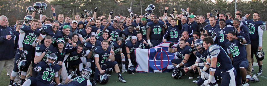 The 2013 Endicott football team celebrating their second NEFC Championship