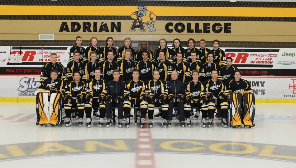 2017-18 Adrian College ACHA Division 2 men's hockey team. (Photo by Mike Dickie)