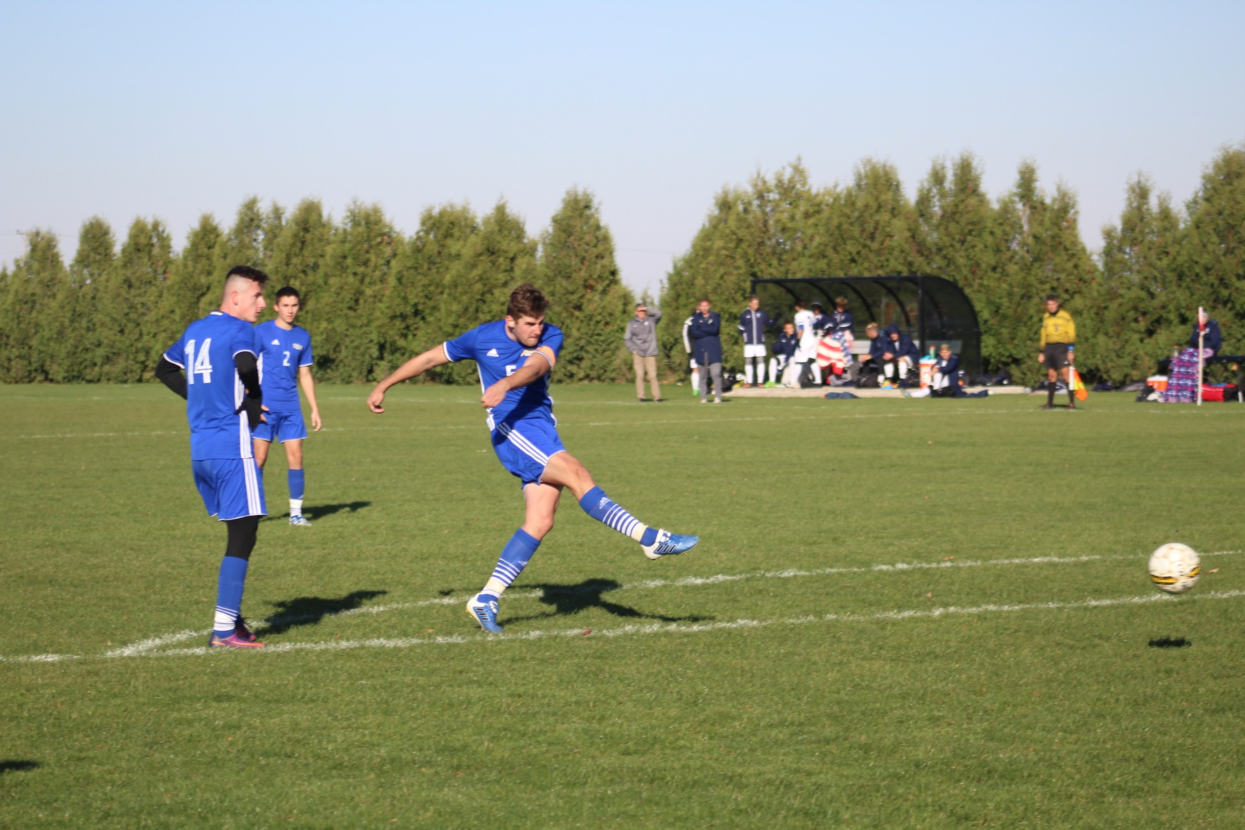 Niall Coulthard scores NIACC's goal on an indirect kick in the second half.