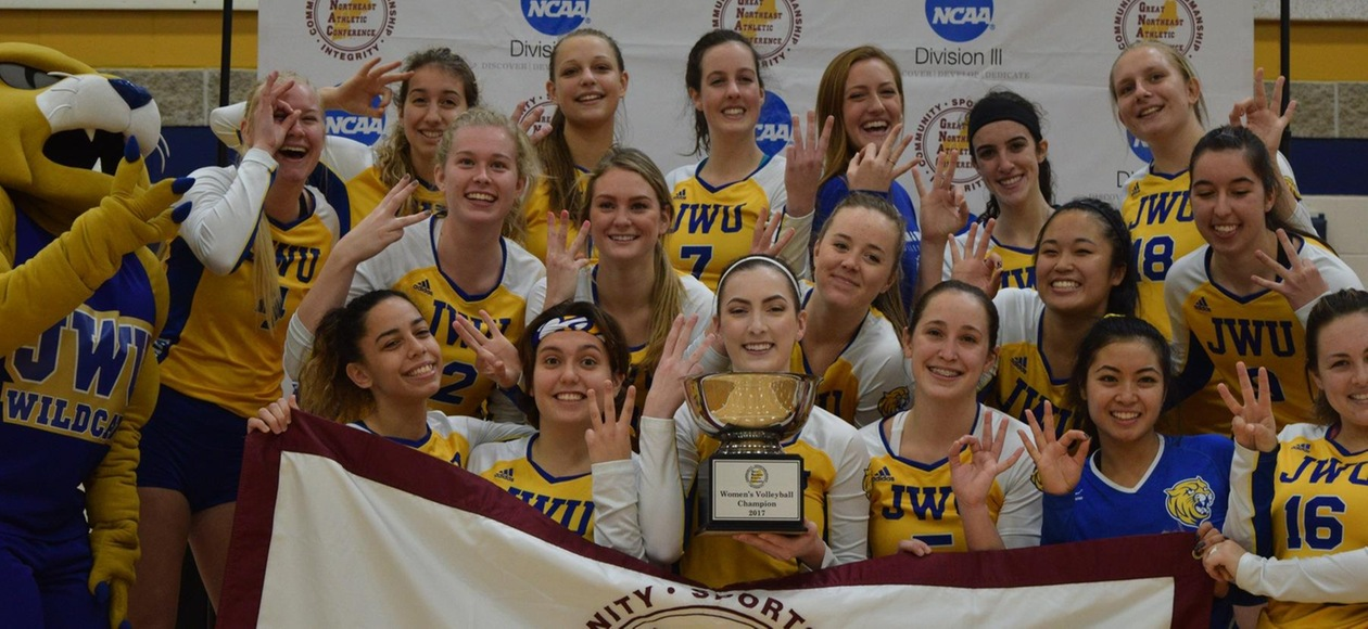 Three Peat! #10 JWU Women's Volleyball Downs Simmons 3-0 for GNAC Crown