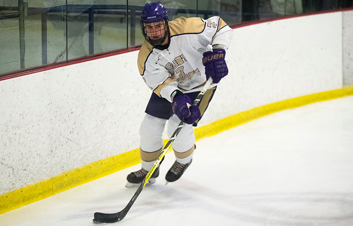 Ouellette Plays Hand in Both Goals, Decker Backstops Purple Knights to 2-0 Victory