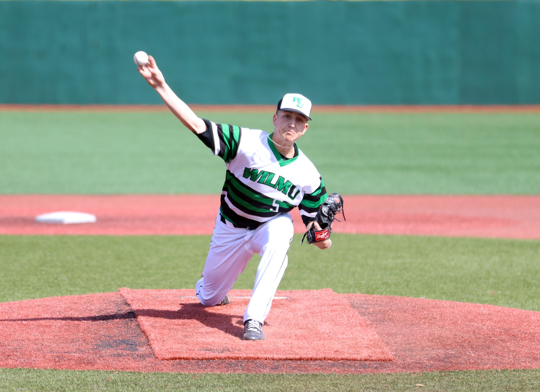 File photo of Matt Warrington who struck out 12 in six innings on Tuesday. Copyright 2020; Wilmington University. All rights reserved. Photo by Dan Lauletta. February 23, 2020 vs. #12 New York Tech in Myrtle Beach.