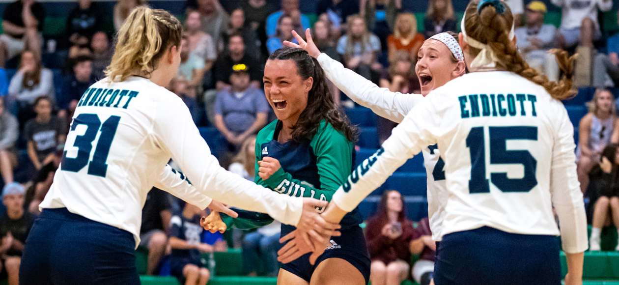 Zoey Gifford, Mackenzie Kennedy, Remi Quesnelle and Krystina Schueler celebrate a point on Homecoming.