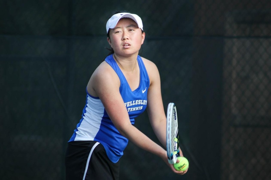 Justine Huang (pictured) and partner Selina Peng earned the win at No. 1 doubles (Miranda Yang).