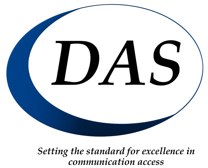 DAS logo. Setting the standard for excellence in communication access