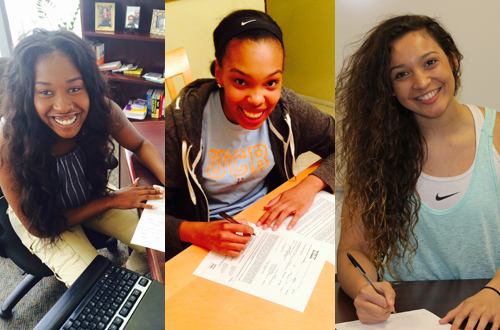 From left to right. Olivia Montgomery, Jaelyn Wilson, and Jasmin Longtin have all accepted scholarship offers from four-year universities.