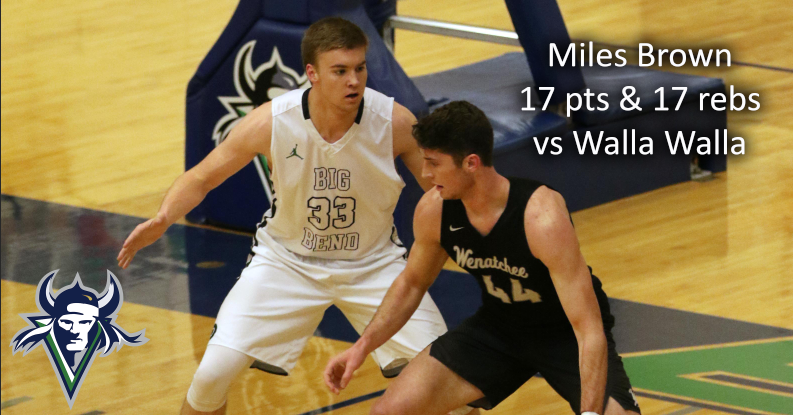 Miles Brown scored 17 points and pulled down 17 rebounds in loss to Walla Walla.