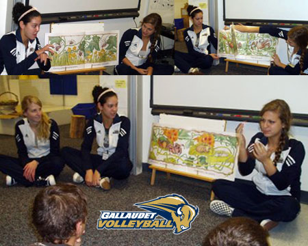 Gallaudet volleyball team gives back to community with Tuesday reading sessions at KDES