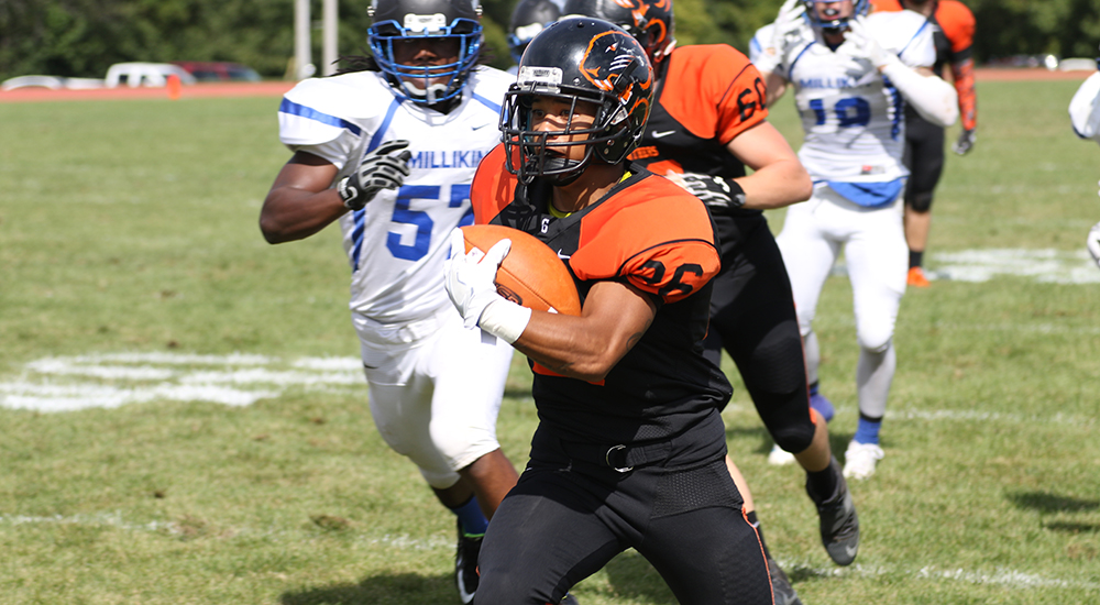 Football rallies in second half but falls 40-21 to Millikin