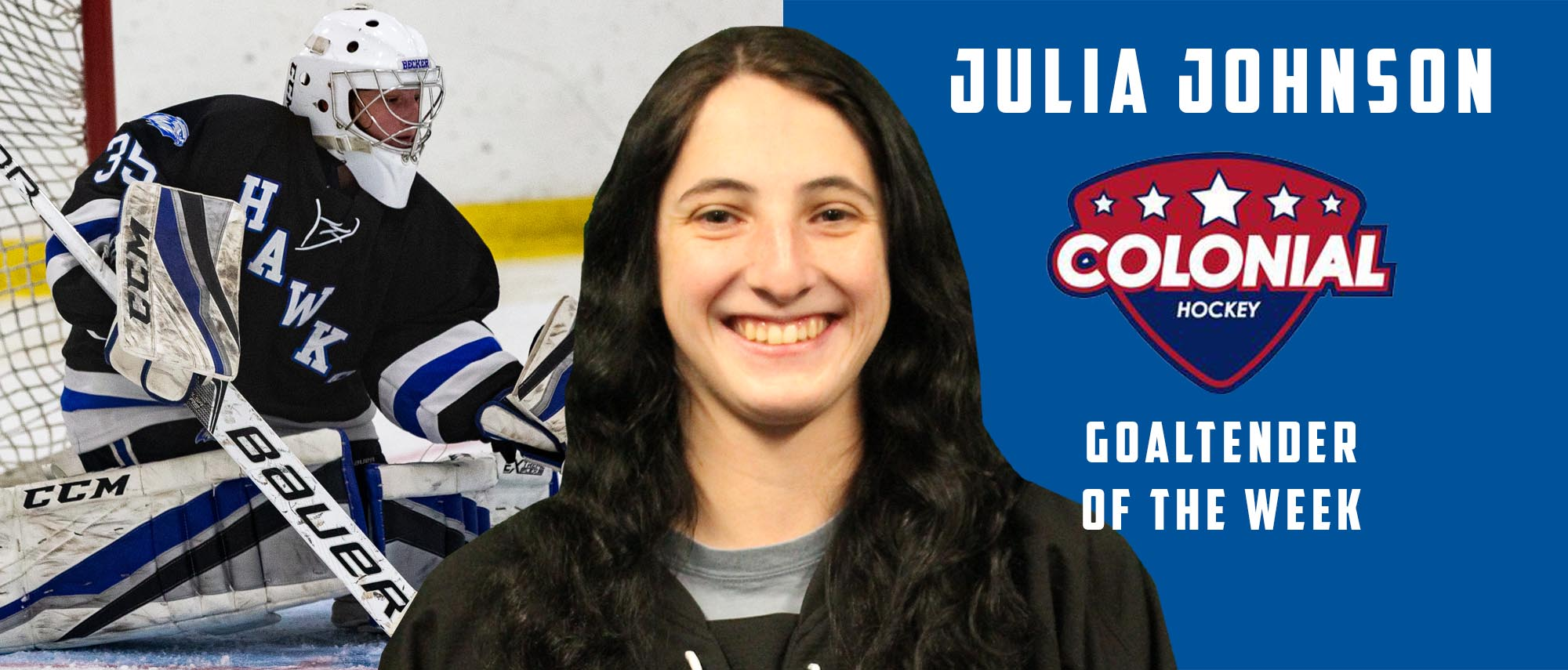 Julia Johnson, Colonial Hockey Conference Goaltender of the Week (Jan. 21, 2019)