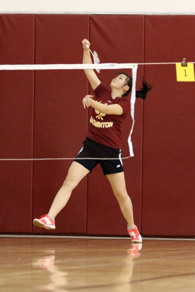 Sarah Thaw is PCC's No. 1 badminton player in 2017, photo by Richard Quinton.