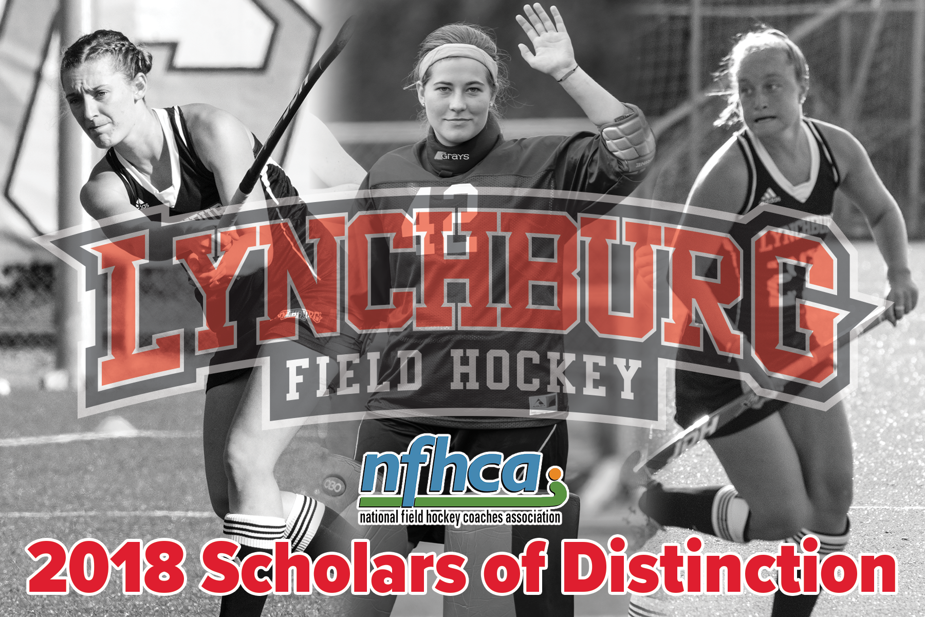 Images of field hockey players who earned national academic awards from the NFHCA with association logo and Lynchburg field hockey logo superimposed