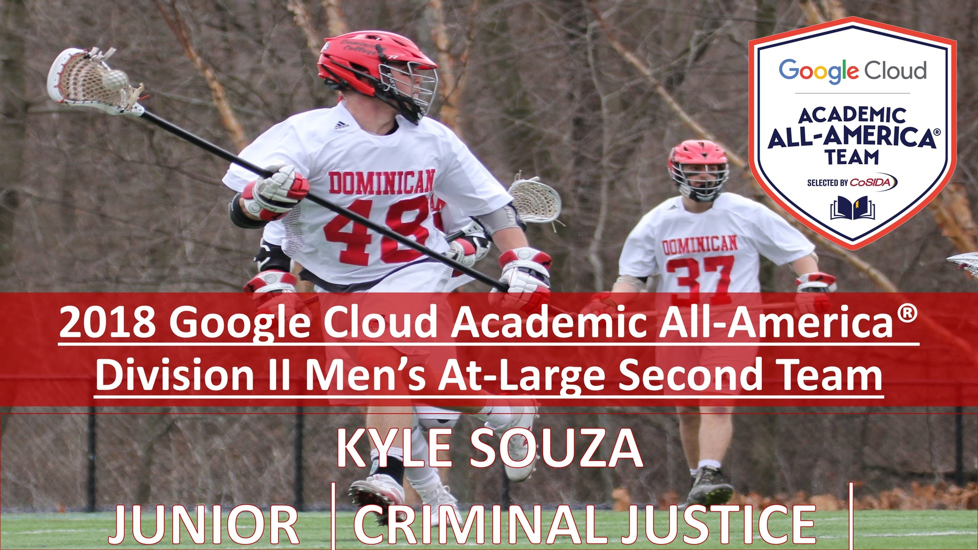 DC men's lacrosse player, Kyle Souza, has been named to the 2018 Google Cloud Academic All-America� Division II Men's At-Large Second Team