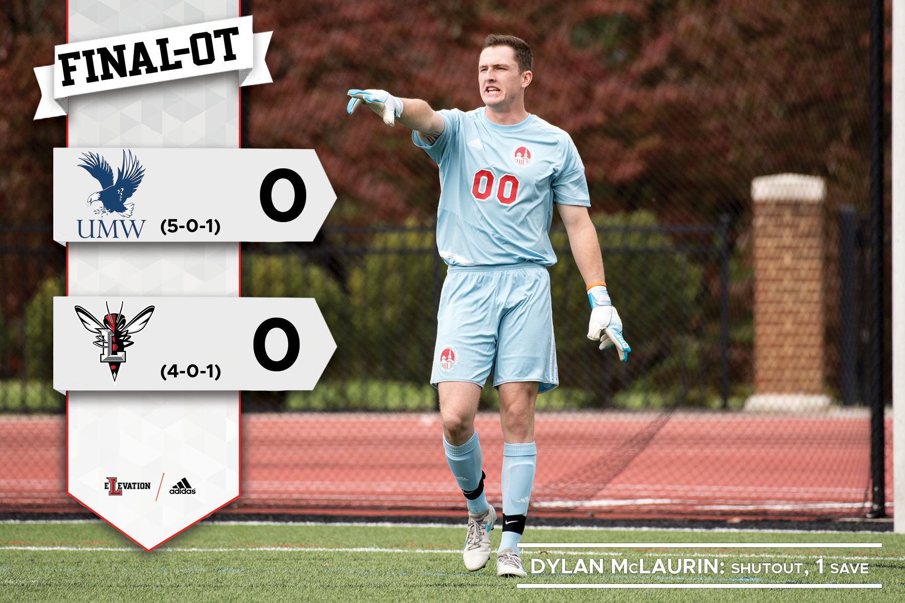 Dylan McLaurin points to direct the defense. Graphic showing scoreless draw in UMW/Lynchburg soccer match.