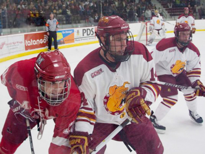 Ferris State's Todd Pococke battles for position during Friday's 4-0 home loss to Miami (Ohio).  (Photo by Scott Whitney)