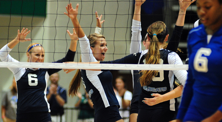 GC Volleyball Gets Straight-Set Win for Inaugural Match