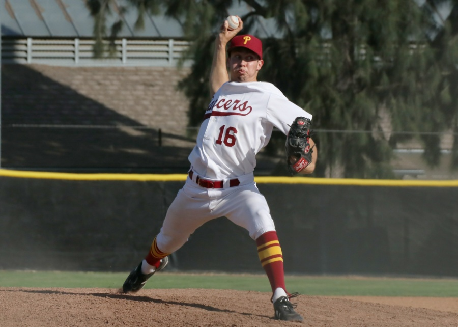 Nathan Garkow dazzled with a 5-hit shutout as PCC completed a rain-halted game from March 13, beating Cerritos, 6-0, image by Richard Quinton.