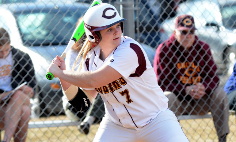 Sophomore Dominique Giesen had two home runs and drove in seven of the team's 15 runs in the Cobbers' sweep at Augsburg.