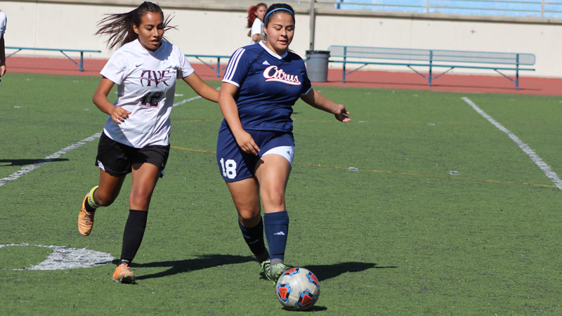 Freshman Alejandra Vargas scored her second goal of the year in Citrus' 2-0 win over Antelope Valley College. Photo By: Grazia Watkins