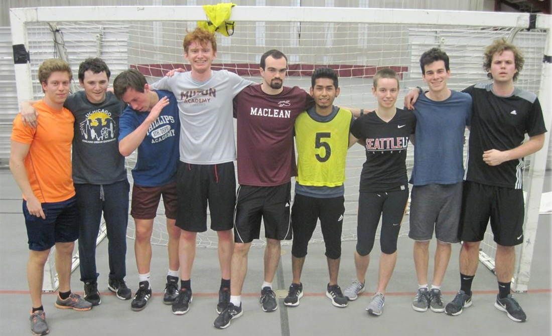 Members of the Strongin Soccer Stars celebrate its Undergraduate Men's Residence Indoor Soccer championship this winter at Henry Crown.